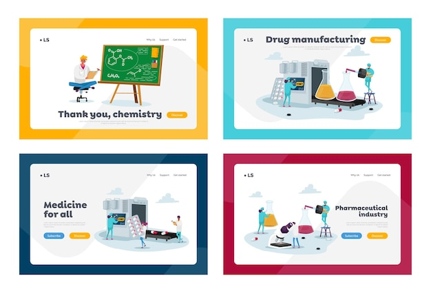 Pharmaceutical industry medical drugs producing factory landing page template set