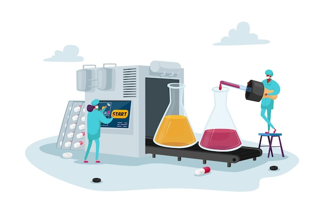 Pharmaceutical industry medical drugs production concept
