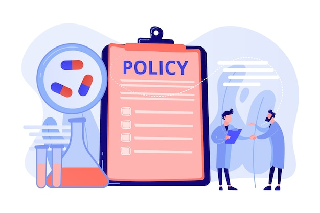 クリップボードと研究者、小さな人々に関する製薬政策。製薬政策、製薬ロビー、医薬品生産管理の概念。ピンクがかった珊瑚bluevectorベクトル分離イラスト