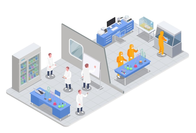Pharmaceutical production isometric composition with view of research and test rooms with medical products and scientists