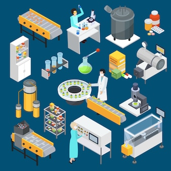 Pharmaceutical production isometric icons collection