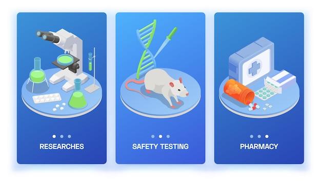 Set isometrico di produzione farmaceutica di tre banner verticali con apparecchiature di ricerca di prodotti medici e topo da laboratorio