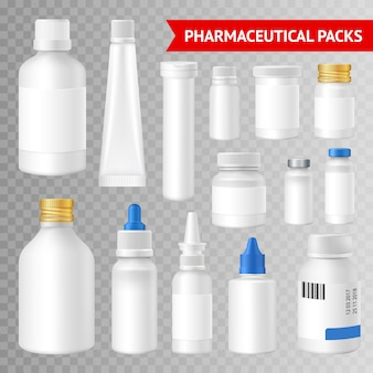 Pharmaceutical quality packaging solutions realistic images collection