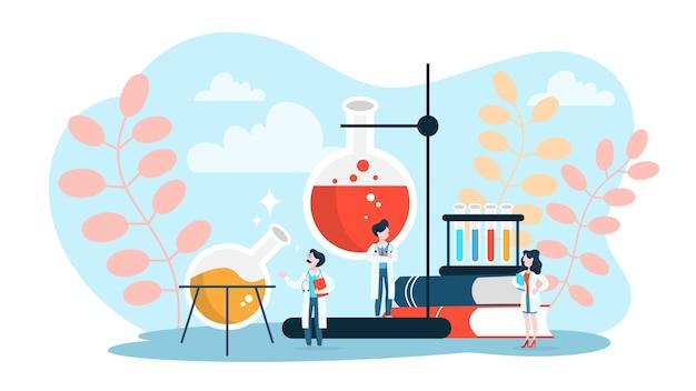 제약 연구 개념. 임상 테스트를 만드는 과학자