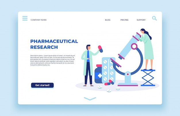 Pharmaceutical research. scientists lab, pharmaceutics scientist and laboratory researchers landing page  illustration