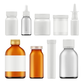 Pharmaceutical white bottles.