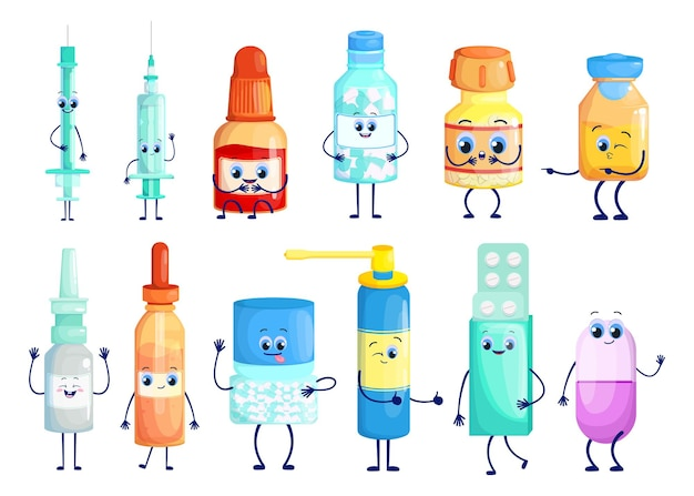 Pharmaceuticals cartoon characters set