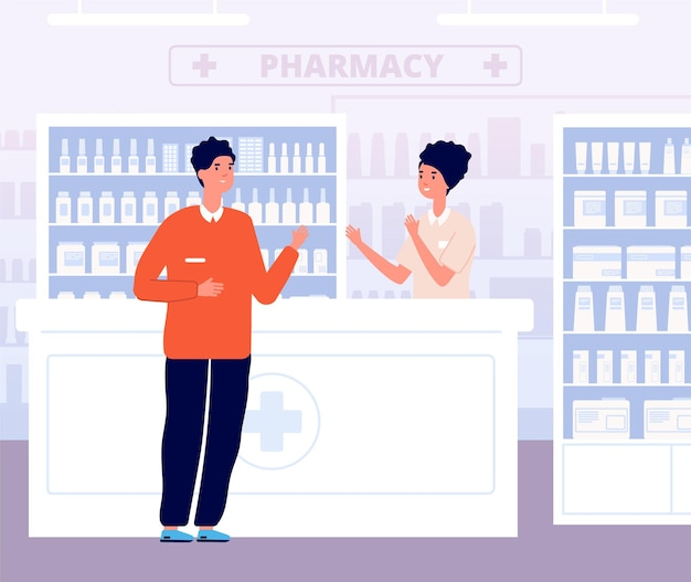Фармацевт и пациент. консультация по наркотикам, мужчина в интерьере аптеки