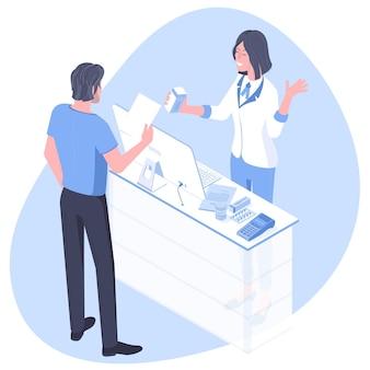 Фармацевт и пациент в аптеке. плоский дизайн изометрии