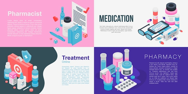 Pharmacist banner set, isometric style