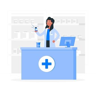 Иллюстрация концепции фармацевт
