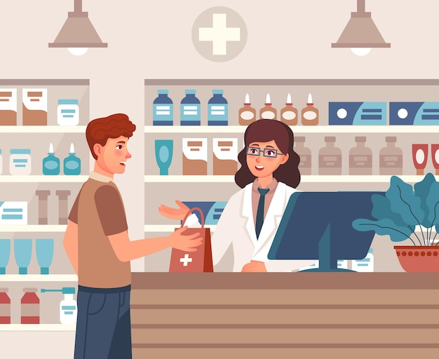 Pharmacist consultant and patient in drugstore interior