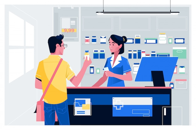 Pharmacist at counter in pharmacy
