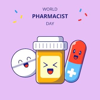 약사의 날 귀여운 의약품 만화 캐릭터. 약물 병, 캡슐 및 태블릿 마스코트 세트.