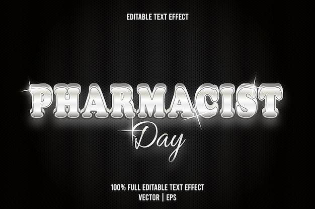 Pharmacist day editable text effect 3 dimension emboss luxury style