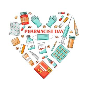 薬剤師の日は9月25日の休日です。薬はハートの形で配置されます。漫画のスタイルの白い背景の上のベクトルイラスト。