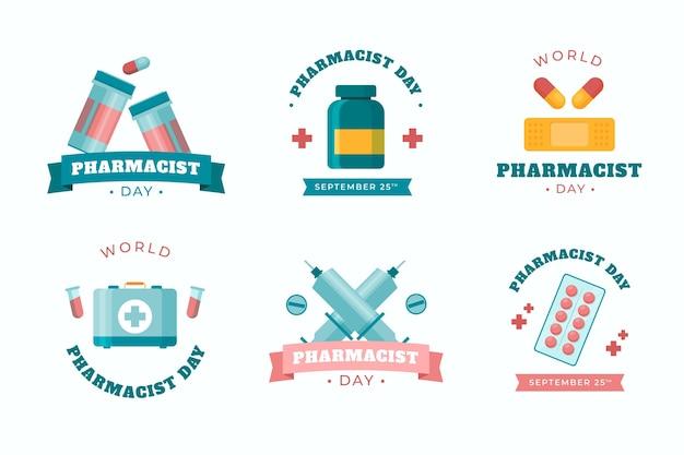 Collezione di etichette per il giorno del farmacista