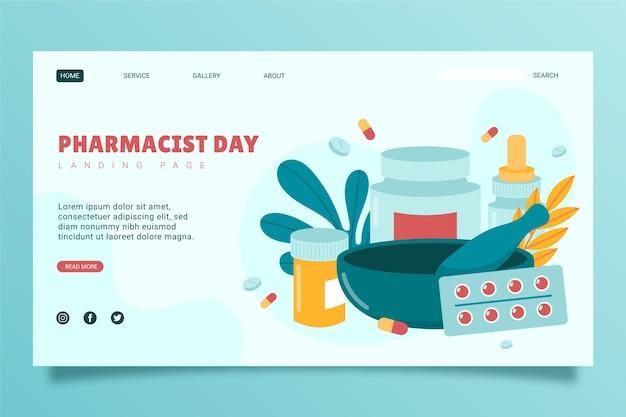 Modello di pagina di destinazione del giorno del farmacista