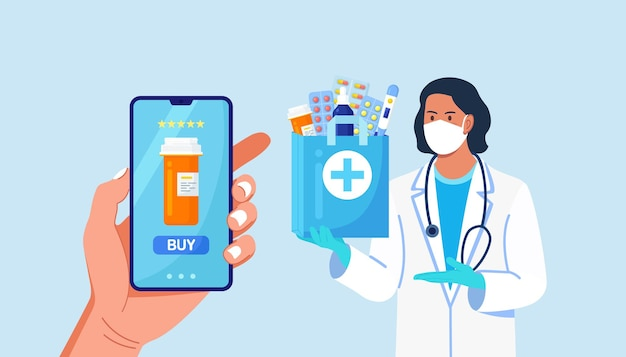 Pharmacist in disposable gloves with paper bag with medicines, drugs and pill bottles inside. online home delivery pharmacy service on phone screen. doctor in white coat, facial mask with stethoscope