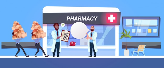 Фармацевт доктор в аптеке флажки с лекарствами