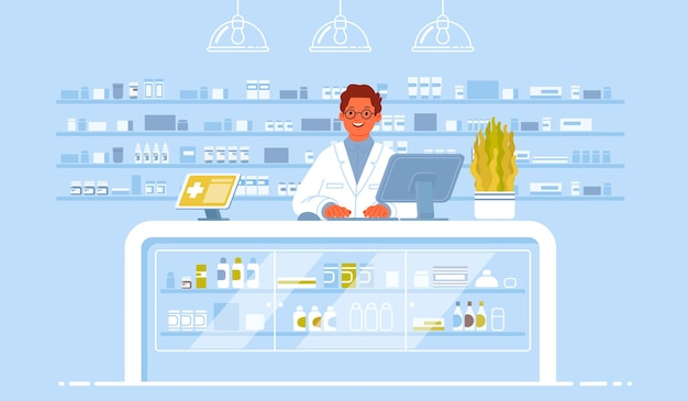 Pharmacist doctor in the interior pharmacy. pharmacology. sale of drugs in the drugstore.