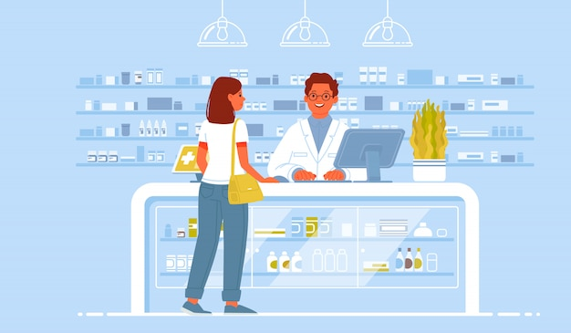 Pharmacist doctor and patient in the drugstore. a client woman buys drugs at a pharmacy