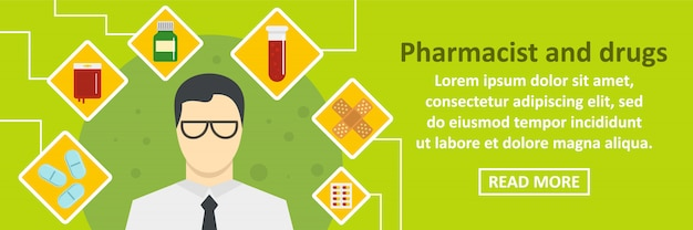 Pharmacist and drugs banner template horizontal concept