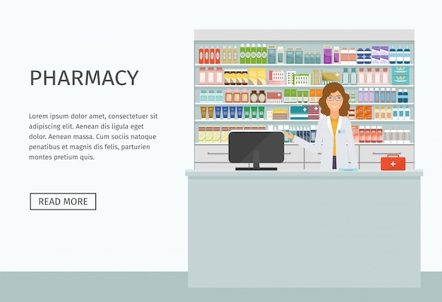 Pharmacist female character at the counter. drugstore interior with simple text. vector illustration.