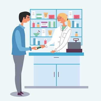 Pharmacist girl accepts payment from the client