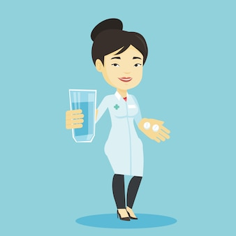 Pharmacist giving pills and glass of water.