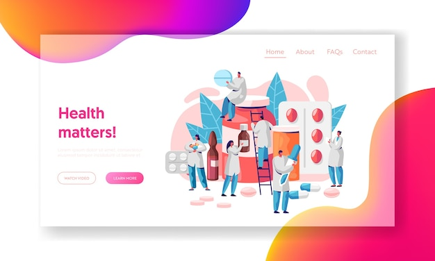 Pharmacist medicine drug store landing page. pharmacist care for patient. medicine industry. online drugstore infographic background website or web page. flat cartoon vector illustration