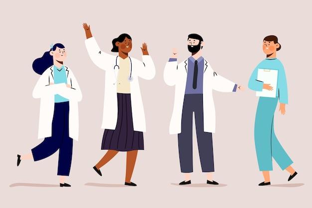 Persone di farmacista in abiti bianchi medici
