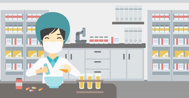 Pharmacist preparing medication.