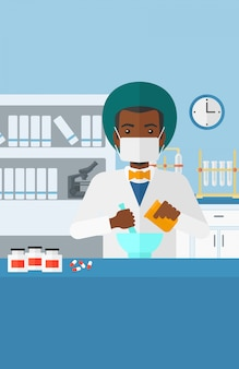 Pharmacist preparing medicine.