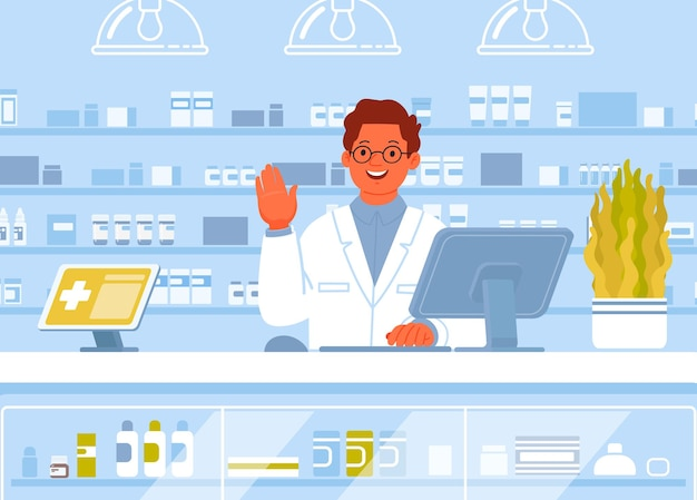 Pharmacist shows a greeting gesture. drugstore.