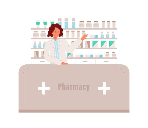 약사는 약 약국 또는 약사 개념을 가리키고 서 있습니다.