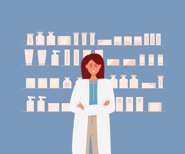 Pharmacist stands in front of pharmacy shelves