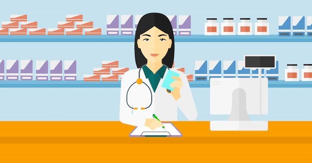 Pharmacist taking notes.