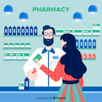 Pharmacist with costumer
