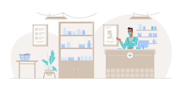 Pharmacist working in pharmacy shop standing by counter interior of drug store with shelves full of