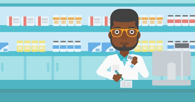 Pharmacist writing prescription.
