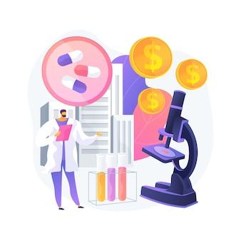 薬理学ビジネス抽象的な概念ベクトルイラスト。薬理学産業、製薬ビジネス、医学研究と生産、薬局ネットワーク、企業の抽象的な比喩。
