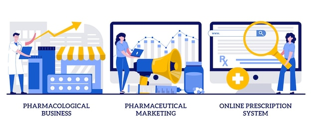 Pharmacological business, pharmaceutical marketing, online prescription system concept with tiny people. pharmacological internet service development and promotion abstract vector illustration set.