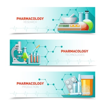 Pharmacology horizontal banners set