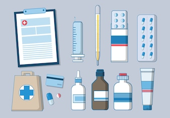 Pharmacy and medical icons set
