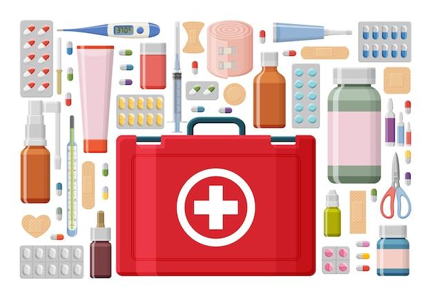 Фон аптеки. аптечка первой помощи с различными таблетками, пластырем, бутылками и термометром, шприцем.