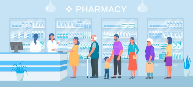 Pharmacy banner, people medicines buyers queue, pharmacists sellers