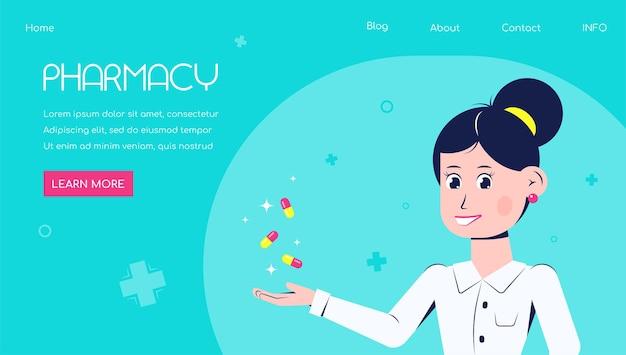 Аптека баннер с женщиной-фармацевтом в плоском стиле