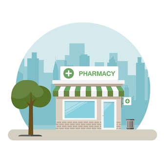 Pharmacy building in a big city. vector illustration