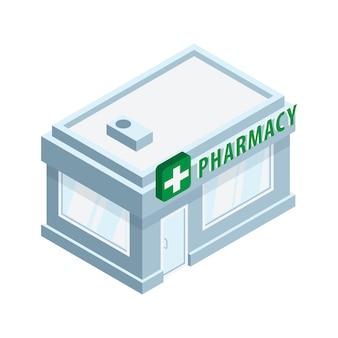 Внешний вид здания аптеки с зеленым знаком изометрической иллюстрации на белом